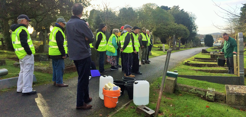Vane Hill residents volunteer at Torquay cemetery as part of a new 'Eyes On, Hands-On' project run by The Commonwealth War Graves Commission (CWGC.)