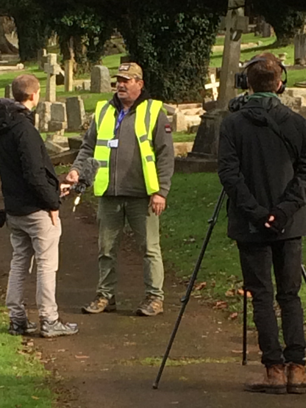 Steve Todd, Vane Hill care home manager, being interviewed by BBC Radio Devon about volunteering for the 'Eyes On, Hands-On' project run by The CWGC