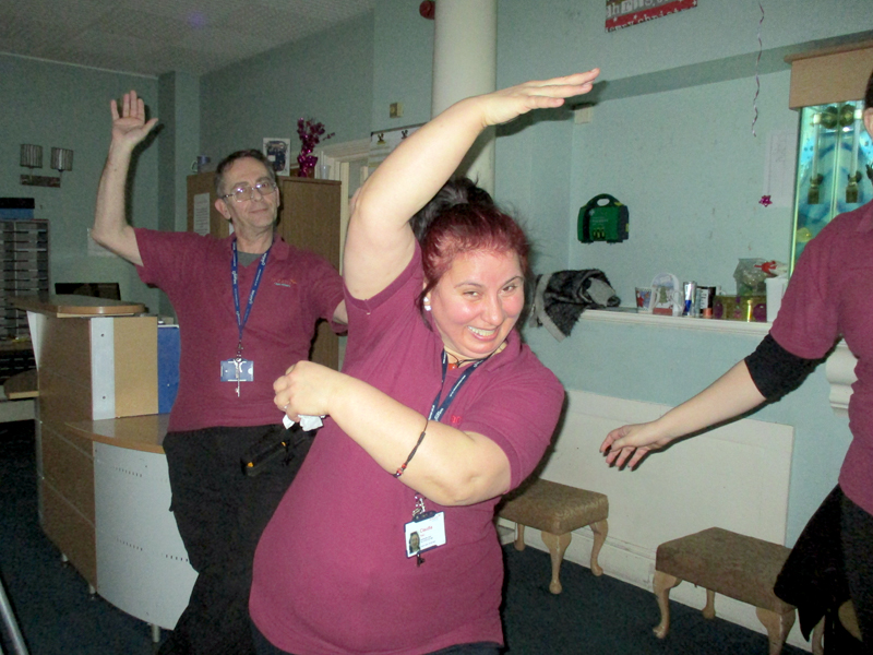 Serenita ARBD Care home staff dancing at Christmas party