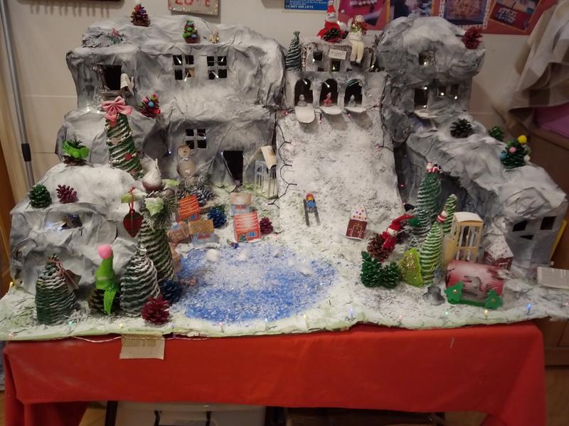 Serenita ARBD care home's home made Christmas snow scene