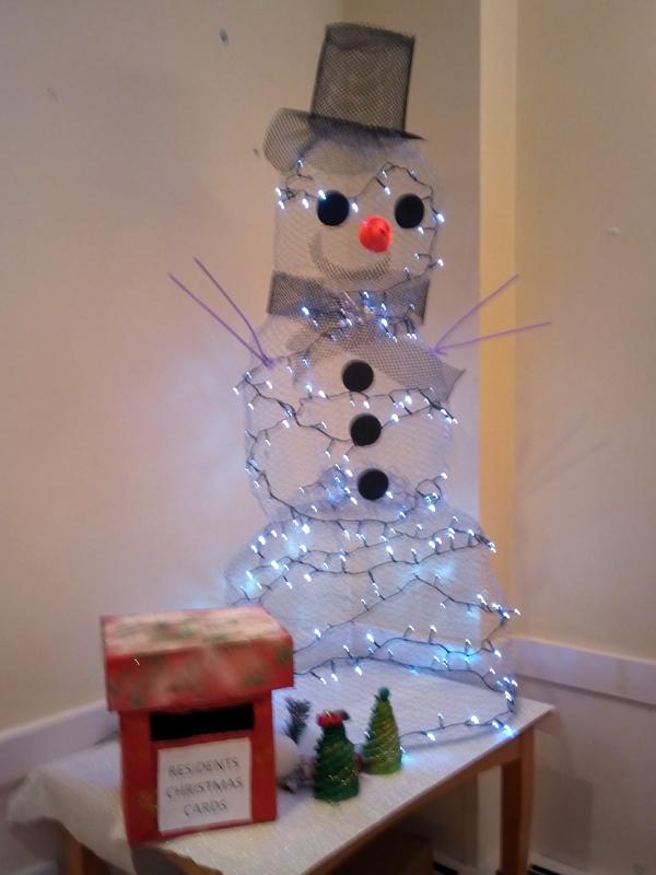 Serenita ARBD care home's home made Christmas snowman