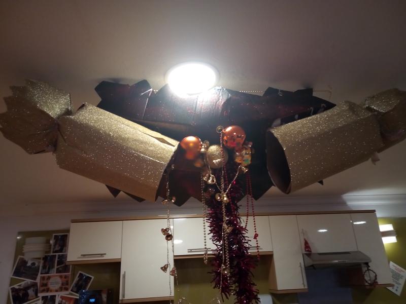 Serenita ARBD care home's home made Christmas ceiling cracker decoration