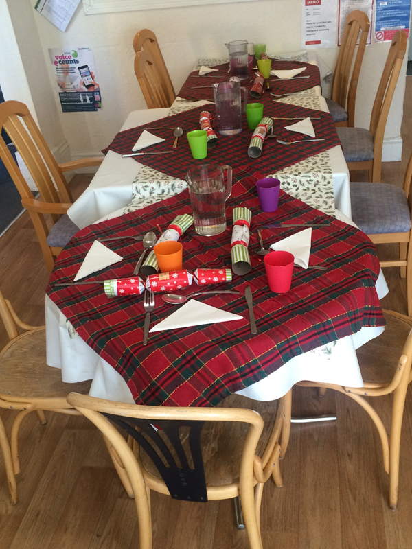 Vane Hill ARBD care home table set up for Christmas Day Lunch