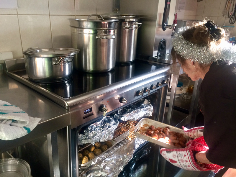 Vane Hill ARBD care home resident cooking the Christmas Day Lunch