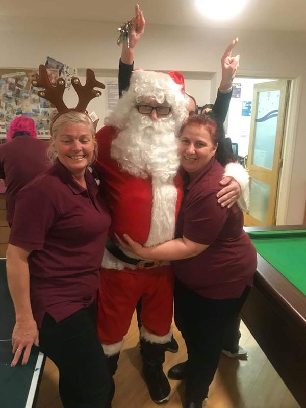 Serenita ARBD Care home staff with Santa