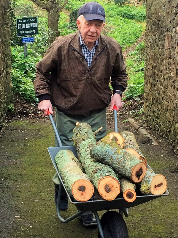 Part of Vane Hill's January Activities - helping a neighbour to move some logs