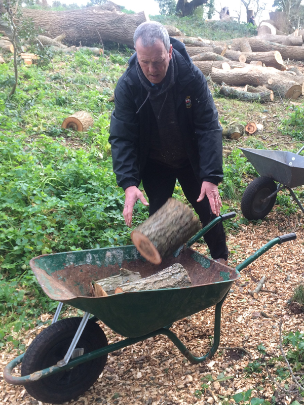 Vane Hill ARBD care home resident filling wheelbarrow with logs for their neighbour