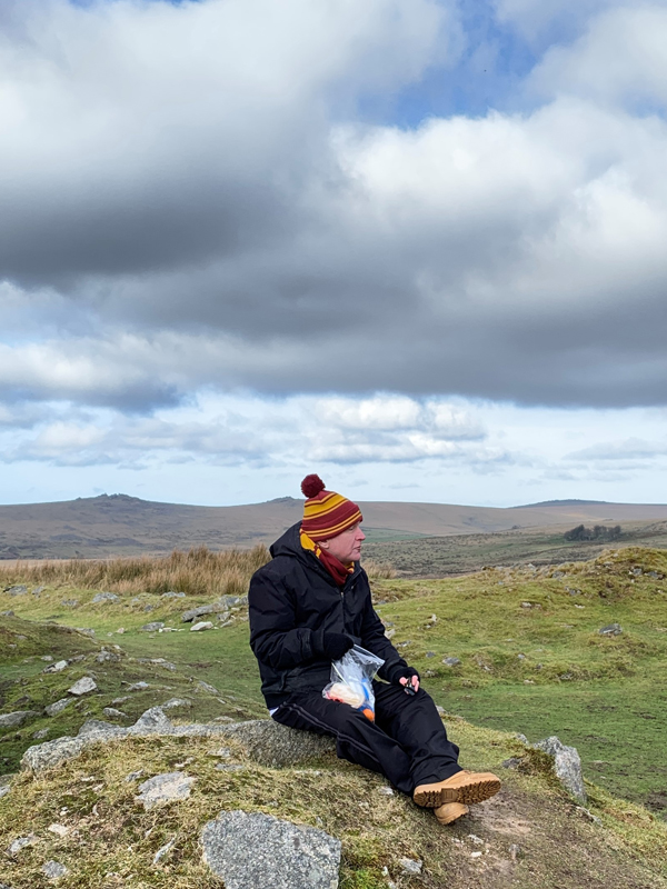 Vane Hill ARBD resident eating his packed lunch at Dartmoor National Park