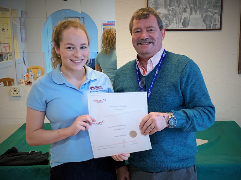 Cavan institute, Ireland, Nursing student, Lauren receving her training certificates from Steve, Vane Hill Care Home Manager