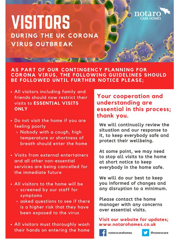 Corona Virus Poster - Notaro Care homes