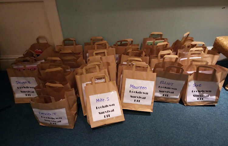 All the personalised lockdown survival kits made up and ready to be given out to the residents at Serenita Care home