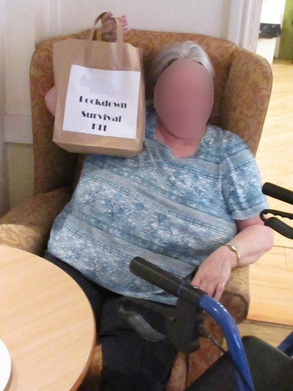 Resident at Serenita care home, with her survival kit